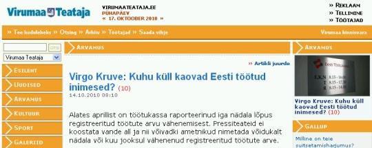 """Virgo Kruve: Kuhu küll kaovad Eesti töötud inimesed? Artikkel ajalehes """"Virumaa Teataja"""" 14. oktoober 2010"""