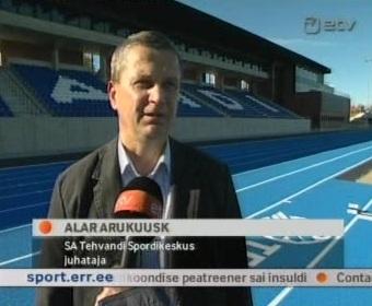 1. oktoober 2010 Tehvandi staadioni ehitustööde avamine, reformierakondlane Alar Arukuusk. Kaader ETV