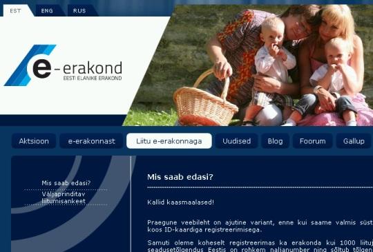 e-erakond.ee koduleht 4. oktoober