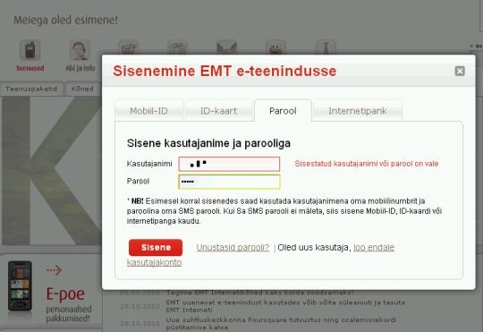 """EMT iseteenindus teatab ekslikult """"Meiega oled esimene"""" kui ei lase isegi kasutajat sisse. Autori foto."""