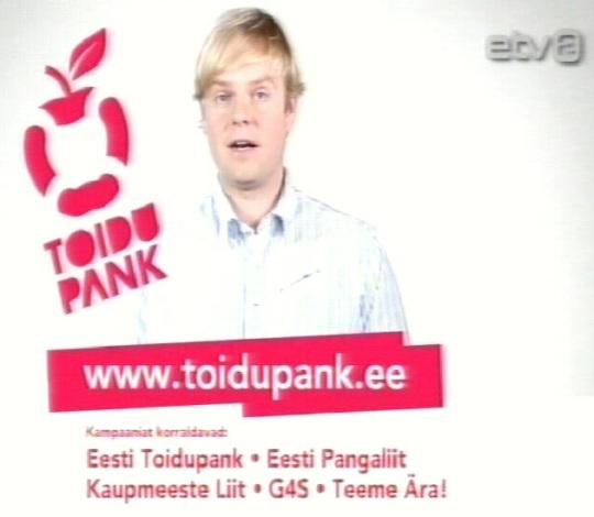 Toidupank on jõudnud oma reklaamiga ka ETV2 kanalile. Võimalik, et sellest räägitakse ka teistes avalik-õiguslikes kanalites. Kaader 29. detsember 2010 ETV2