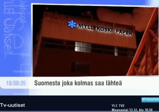 Soome paberitootja koondab inimesi. Kaader areena.yle.fi