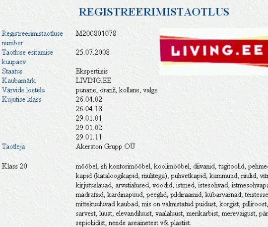 living.ee kaubamark on ekspertiisis ja selle omanikuks on endiselt Akerston Grupp OÜ