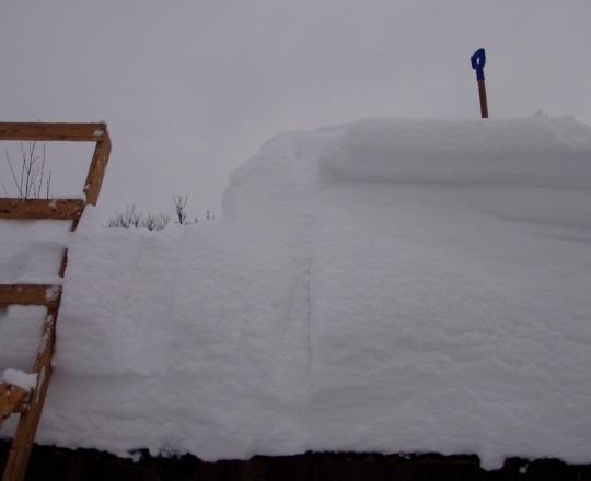 Katusele on tuisanud umbes meetri paksune lumi, mis ülemises kolmandikus on kerge ja pehme aga allpool juba raske ja kihiline. Lumelabidas tundub maast vaadatuna ikka tillukesena. Autori foto