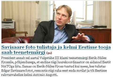 SLÕhtulehe teade 7. veebruar 2008 lehest, et Erik-Niiles Kross saab Toomas Hendrik Ilvese käest ordeni.