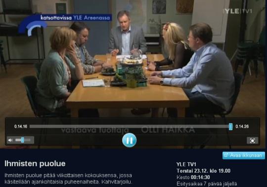 """23. detsembri seriaal """"Inimeste partei"""" arutab valmistumist aasta pärast toimuvateks valimisteks. Tegelikult on Soome valimised 2011. kevadel ehk märtsi keskpaigas. Kaader areen.yle.fi kordusest"""