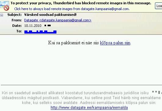 DataGate kampaania spam on palutud tagasi saata gmail.com aadressile. Kuidas teatada Google´le, et nad osalevad spam kirjade saatmise kampaanias vastuvõtjana?