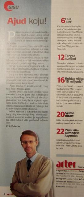 """Priit Pullerits """"Ajud koju"""" ajakirjas Arter 3. juunil 2010. Autori foto"""