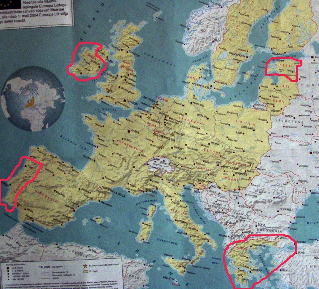 Euroopa kaart euro kriisidega. Regio 2004. aasta kaart, mis ilmus koos EPL-iga ja millele märkisin perifeerias asuvad ühisraha euro kasutavad ja majanduskriisis riigid alates 1. jaanuarist 2011. Foto Virgo Kruve