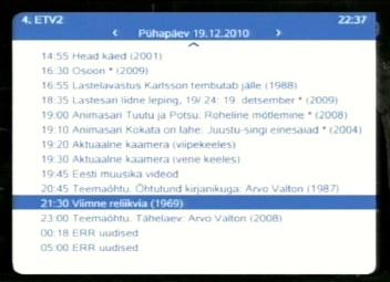 """Film """"Viimne reliikvia"""" eesti keelsel ETV2 kanalil."""