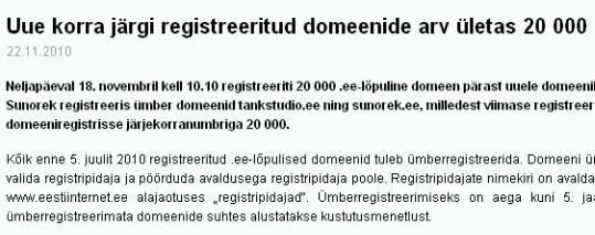 EIS-i pressiteade 20 000 domeeni registreerimisest 22. novembril 2010