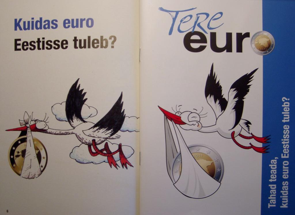 """Kuidas euro Eestisse tuleb voldik vasakul (2006. aasta, lk 6.) ja paremal 2010. aasta novembris levitatud voldiku """"Tere euro"""" esikaas mõnevõrra muudetud kure pildiga. Foto Virgo Kruve"""