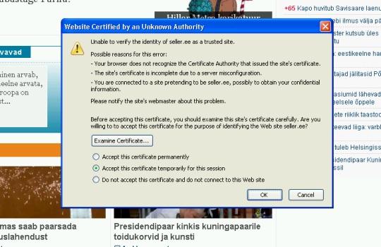epl.ee viskab ülesse seller.ee turvalise ühenduse sertifikaadi