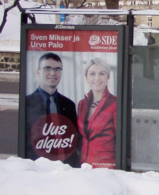 """Sven Mikser ja Urve Palo """"Uus algus"""" valimiste plakat. Foto Virgo Kruve"""