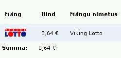 Viking Lotto 1 mänguväli maksab Eesti 0,64 €. Autori pilt