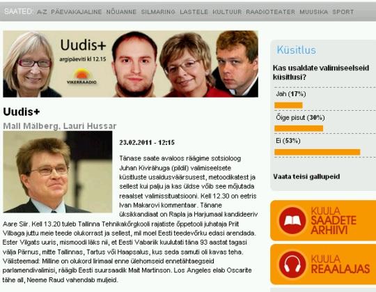 23. veebruari Eesti Reformierakonna Ringhäälingus küsitlu: Kas usute valimiseelseid gallupeid?