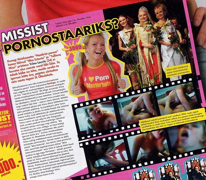 Missist pornostaariks artikkel koos kaadritega veebruaris 2007 (ajakiri Just nr 102)