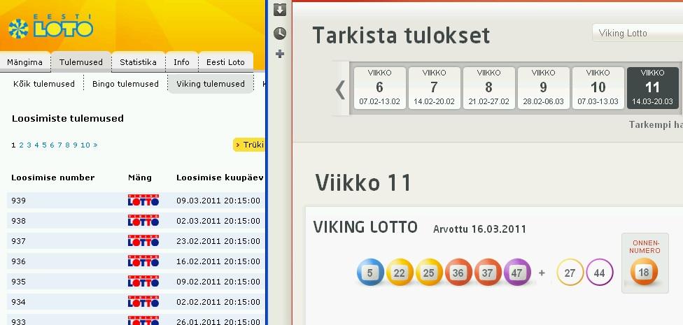 Vasakul on Eesti Loto lehekülg ilma tulemusteta, paremal soomlaste veikkaus.fi viimaste tulemustega. Kell 20.30 loosimise päeval.