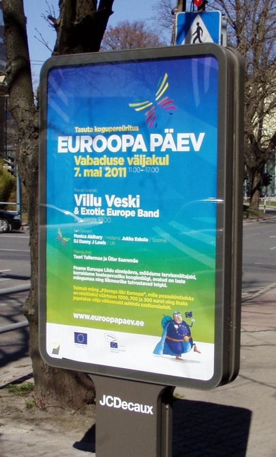 Euroopa päeva tähistamise plakat Tallinnas 29. aprillil. Foto Virgo Kruve