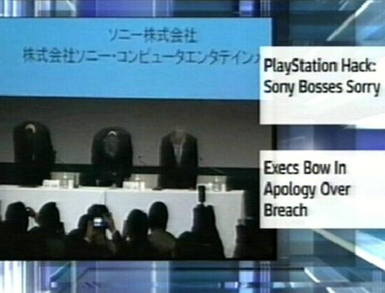 2. mail vabandasid Sony juhid ühise kummardamisega oma klientide ees, et kasutajate andmed olid langenud häkkerite kätte. Kaader SkyNews