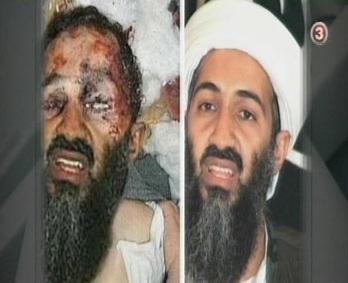 TV3 levitas võltsitud fotot kui tõestust, et Usama on tapetud lasuga pähe. Millest siis silmad, mis meenutavad pigem peksmist (hukkumist plahvatuses)? Kaader TV3