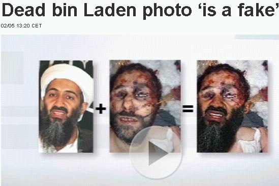 """Kuidas saadi surnud Usama bin Ladini foto. Euronews teeb selle piltlikult ette, et tuntud foto ja teise tundmatu surnud mehe pildi ühendamisel ongi saadud """"tõestus"""" surnud Usamast. Kaader Euronews uudisest"""