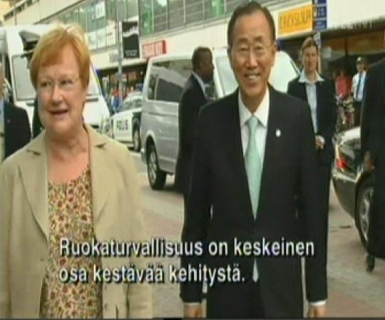 Tarja Halonen võõrustas reedel Soome visiidile saabunud ÜRO peasekretäri Ban Ki-moon´i. Kaader YLE uudised