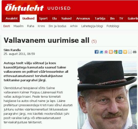 IRL-i kraavis poliitik Kalmer Poopuu. uudis http://www.ohtuleht.ee/440692