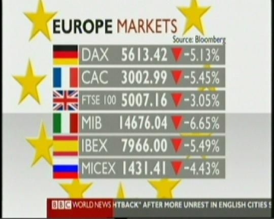 10. augusti 2011 Euroopa börsid olid kõik miinuses. Kaader BBC