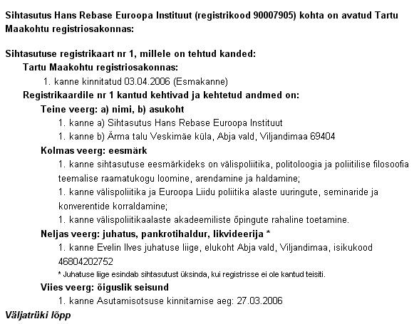 Sihtasutus Hain Rebase Euroopa Instituut tegutseb Äriregistri andmete järgi edasi.
