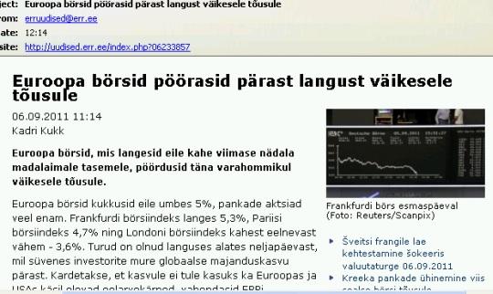 ERR teatas taaskord ekslikult börside tõusust