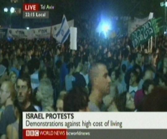 Iisrael protestib kõrgete hindade vastu, kaader BBC 3. septembril