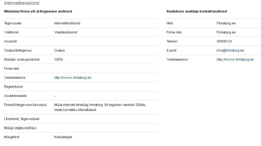 firmaturg.ee otsib investorit: http://www.firmaturg.ee/?post:item,703