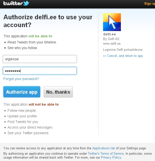 Twitter küsib luba delfi.ee kommenteerimise võimaluse eest minu andmeid vahetada. Autori foto