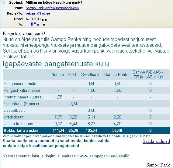 Sampo pank tegi kuutasu, maksete, krediitkaardi ja deebetkaardi hindade võrdluse teiste pankadega: SEB, Swedbank ja Nordea ning väidab eksitavalt, et on soodsaim. Tegelikult saan tasuta arveldusarvet hoida SEB-s, Swedbankis ja Nordeas. Ainult Sampo Pank küsib arveldusarve eest (ilma ühegi kaardita) 11,5 eurot poolaastas või 23 eurot aastas. Pilt Virgo Kruve postkastist