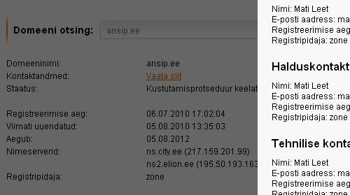 """Domeeni ansip.ee staatus on registri järgi """"Kustutamisprotseduur keelatud."""" Tegemist ei ole üldsegi tavapäras olekuga, vaid eristaatusega."""