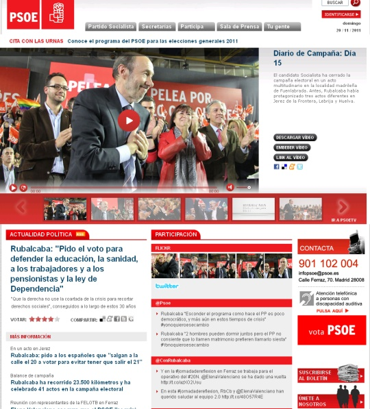 psoe.es esileht 20. november 2011
