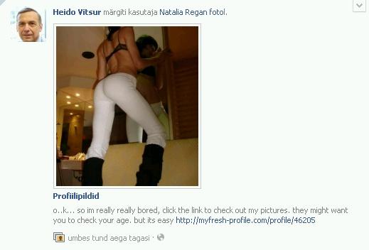 Facebook profiili pildi pettus, mis teatab kellegi tuttava fotol märkimisest ja toob tekstis ka lingi mõnele teisele serverile. Autori ekraanitõmmis