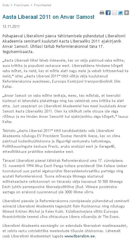 """Tiitli """"Aasta Liberaal 2011"""" andmisest ilmus teade esmalt Reformierakonna kodulehele reform.ee"""