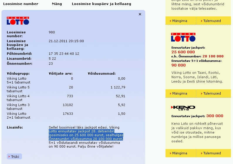 Õnnenumber 23 tuli välja aga Eesti Loto lubab kasvavat õnnenumbriga loosimist ja järgmiseks nädalaks