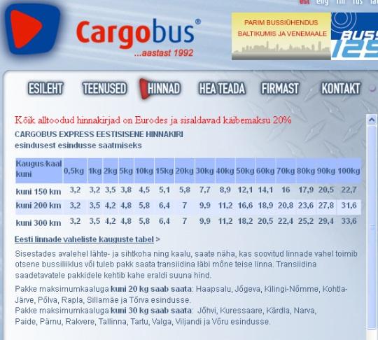 Cargobus hinnad 31.05.2012 seisuga