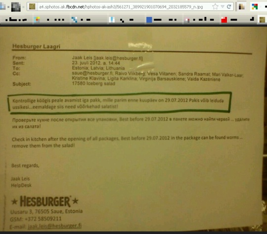 Hesburger teatab oma töötajatele toidu pakkide kontrollimisest, et seal ei oleks võõrkehi (ussikesi).