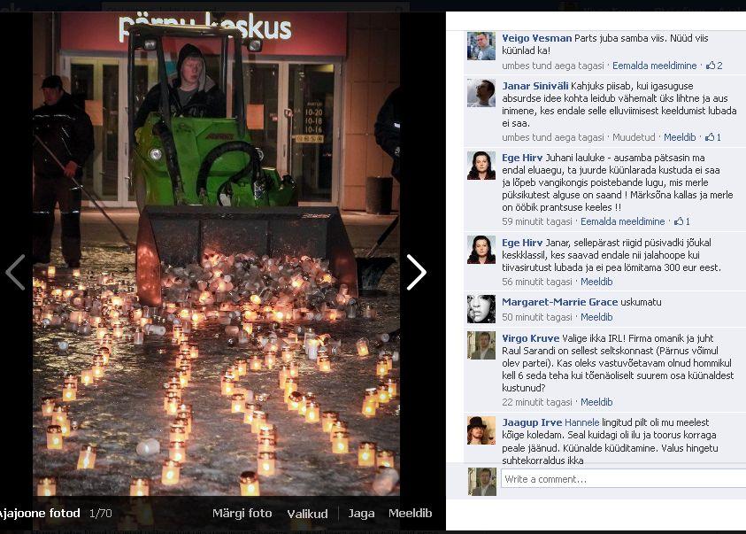 Pärnu märtsiküüditamist mälestavate küünelde koristamine 25.03.2013 õhtul kell 21. Foto Hannele Känd facebookis. Kommentaarid on Elver Loho konto juurest.