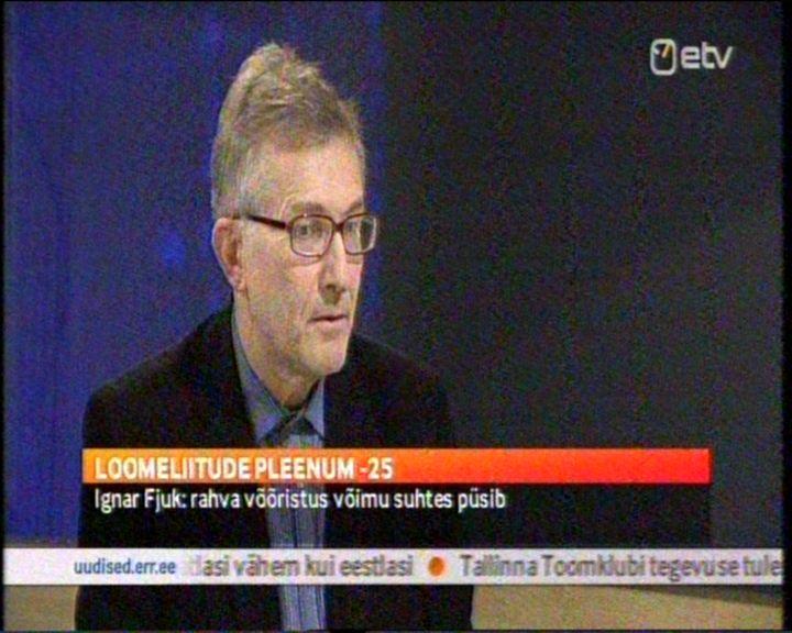"""Ignar Fjuk: rahva võõristus võimu suhtes püsib. 2. aprill 2013 ETV saade """"Aktuaalne Kaamera"""" kell 21:12."""