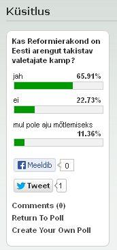 Küsitlus: Kas Reformierakond on Eesti arengut takistav valetajate kamp? Vastajatest leidis 2/3 selle nii olevat.