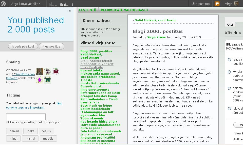 Virgo Kruve blogi virgokruve.eu sai 29. mail 2013 kell 9:43 2000. sissekande.