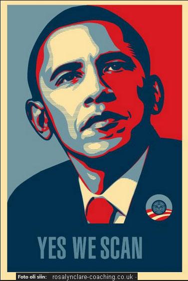 """2008. aastal tuli Barack Hussein Obama oma USA presidendi valimiste kampaanias välja loosungiga Jah, me saame (Yes We Can) aga juba siis oli õigem seda nimetada Jah me skännime (Yes We Scan). Väljendasin seda mõtet ka ühe foto """"täiendamisega""""."""