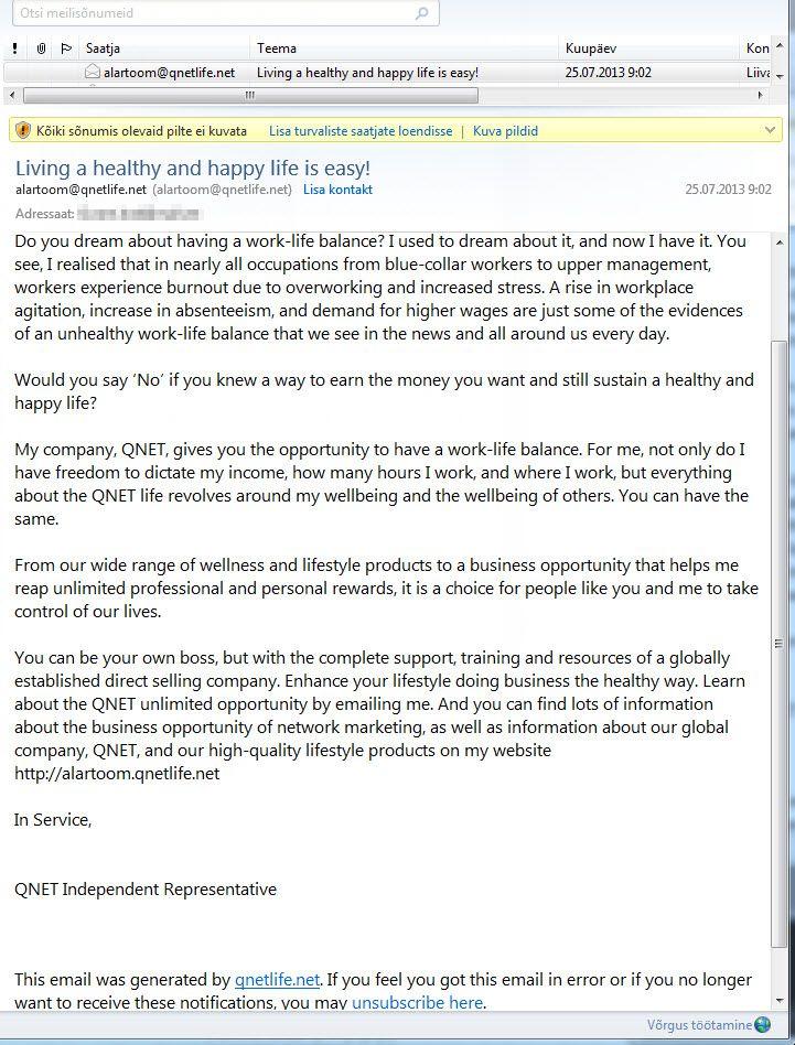 Uus müügiketi kiri, milles Alar Toom pakub leevendust tööga seotud pingetele. Pilt kasutajalt Liivane Lord