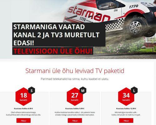 DVB-T signaali vastuvõtmine tasulise teenusena maksab Starmani võrgus digiboksiga alates 6,99 eurot kuus. Sisaldab Kanal2 ja TV3 ning 16 muud kanalit.