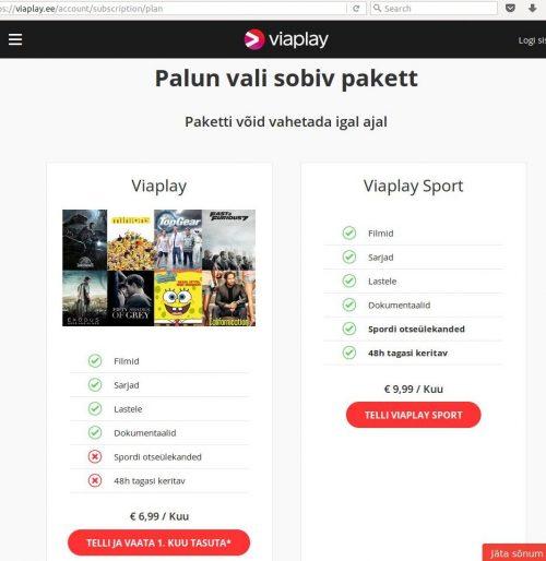 Interneti põhist video vaatamist pakub VIAPLAY.ee leht 6,99 eurot kuus ja see sisaldab kümneid seriaale ja filme.